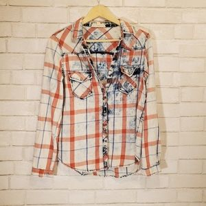 Lovestich cute flannel print button down
